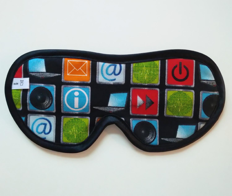 schlafbrille für männer mit internet-icons