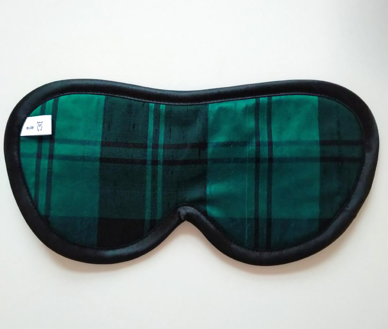 schlafbrille für männer grün-schwarz-kariert