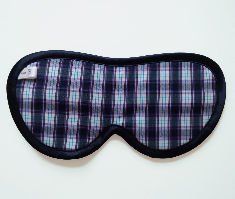 schlafbrille für männer violett-blau-kariert