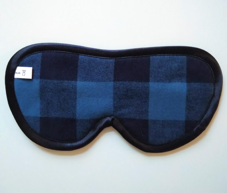schlafbrille für männer blau-schwarz-kariert