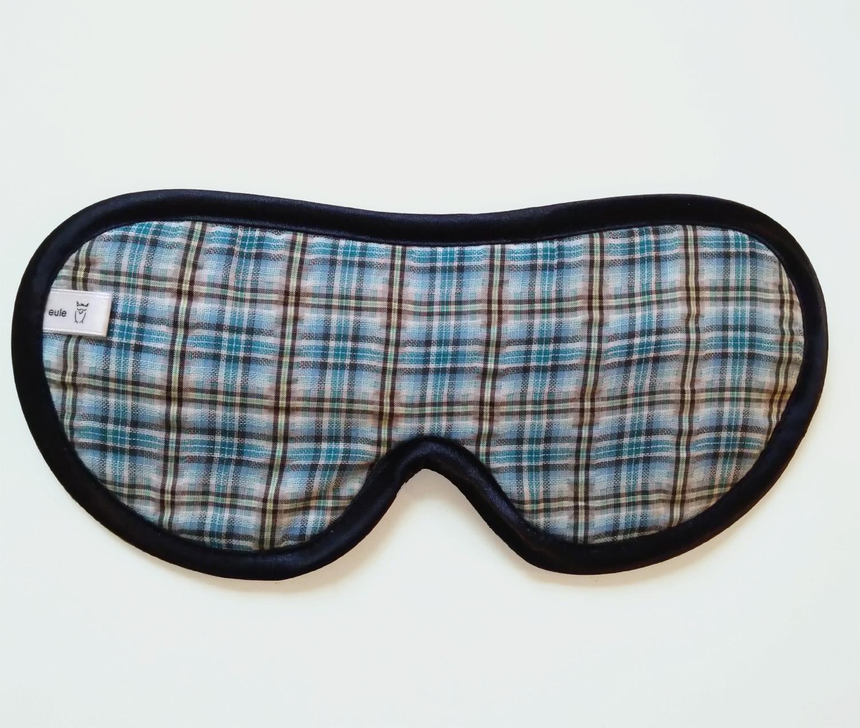 schlafbrille für männer hellblau kariert