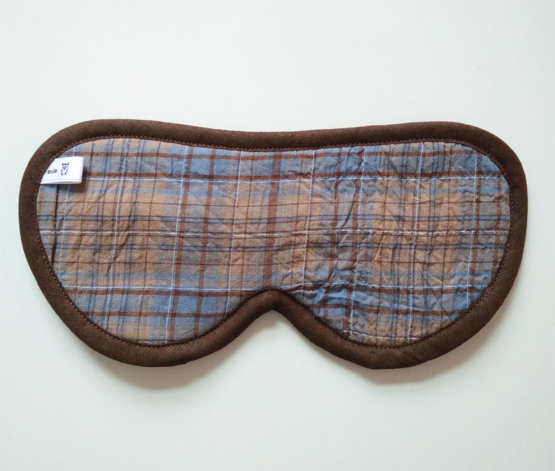 schlafbrille für männer braun-blau-kariert
