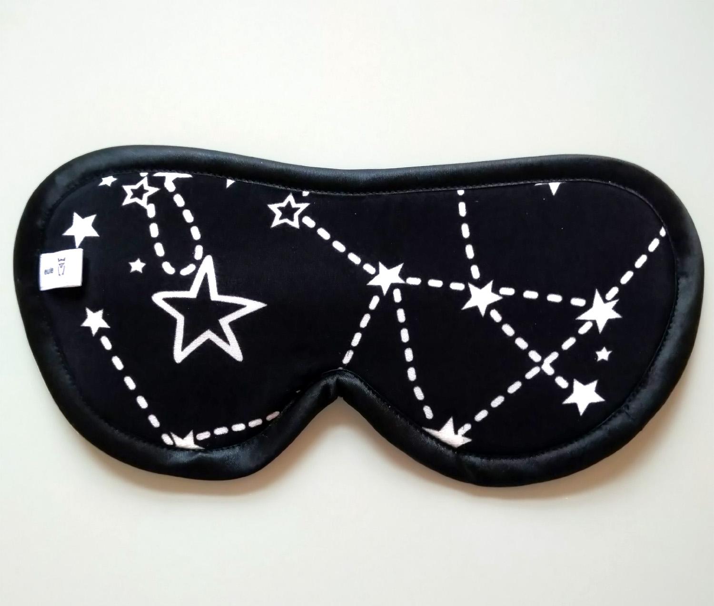 schlafbrille aus weicher seide mit sternenbild