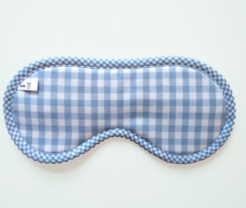 schlafbrille aus weicher baumwolle hellblau kariert