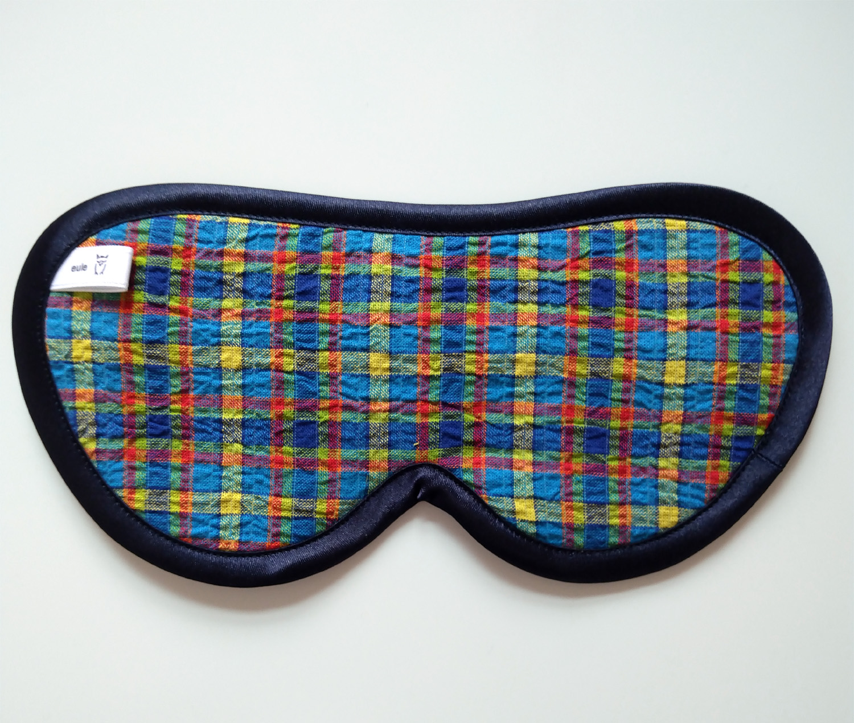 schlafbrille für männer leicht gecrashter Baumwollstoff bunt-kariert