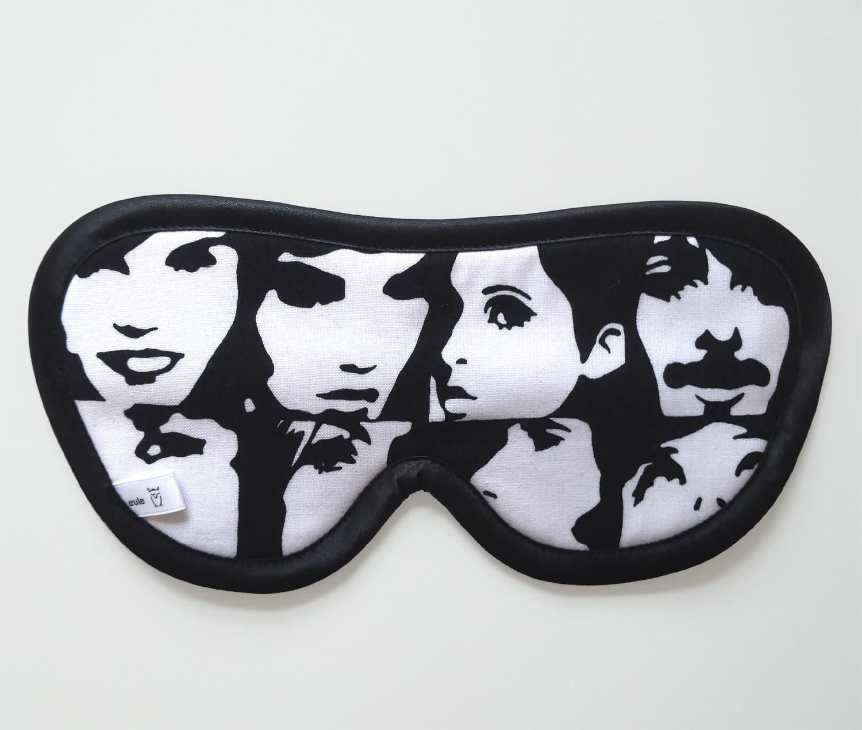 schlafbrille aus baumwolle mit gesichtern