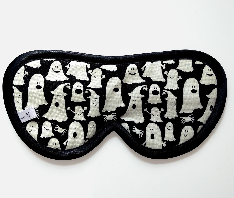 schlafbrille aus hochwertiger baumwolle mit kleinen geistern