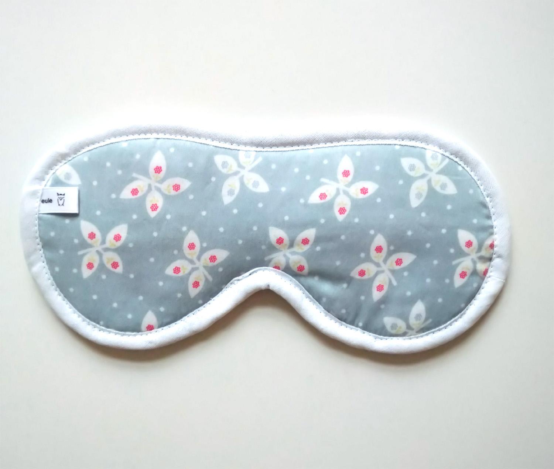 schlafbrille aus weicher baumwolle mit schmetterlingen