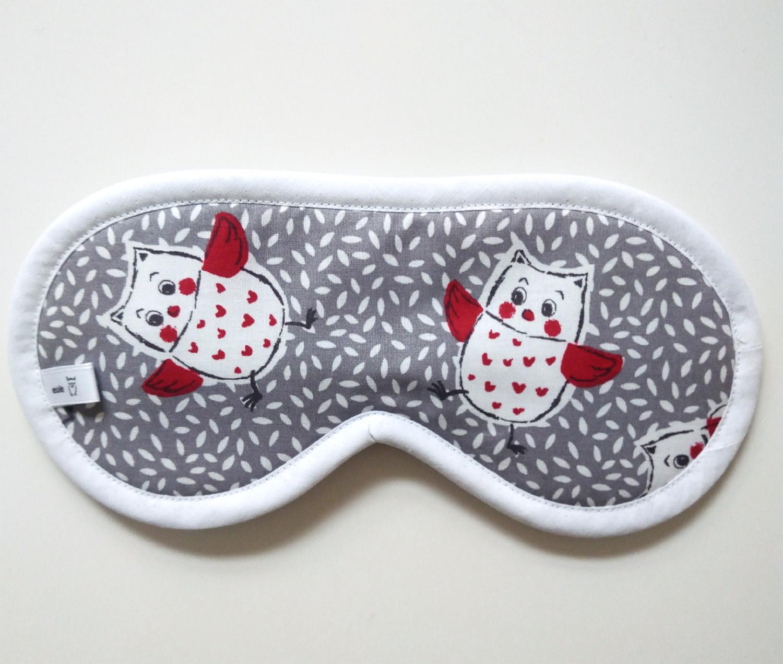 schlafbrille aus weicher baumwolle mit zwei eulen
