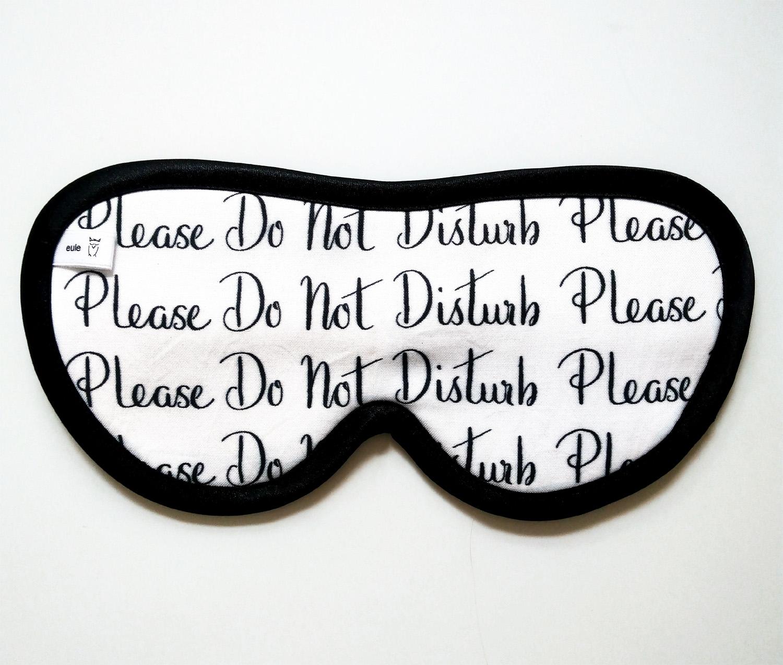 schlafbrille aus hochwertiger baumwolle mit schriftzeichen do not disturb