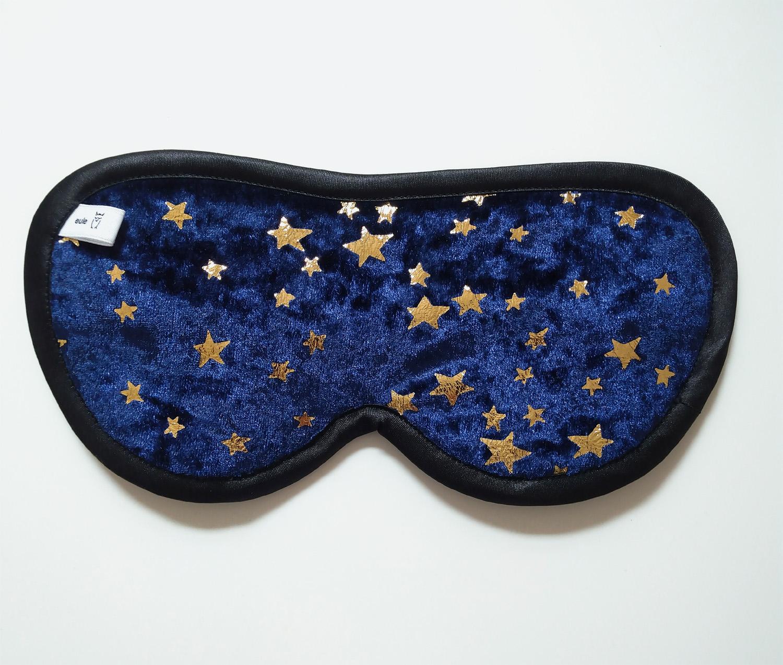 schlafbrille aus weichem Nickistoff mit Sternen