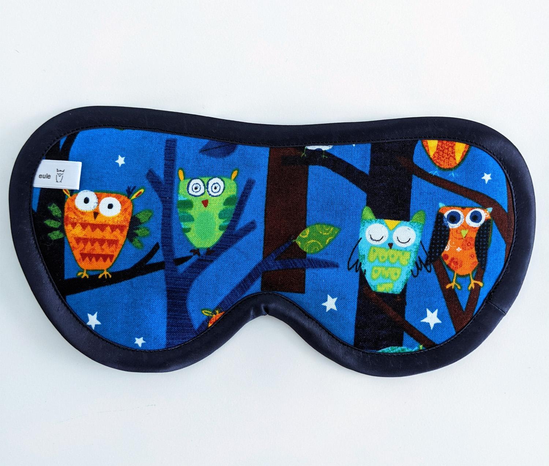 schlafbrille aus baumwolle mit nachteulen