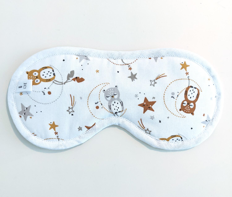schlafbrille aus weicher baumwolle mit eulen